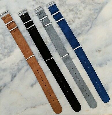 Suede Leather NATO Watch Strap 18mm/20mm/22mm - Grey/Brown/Black/Navy Blue