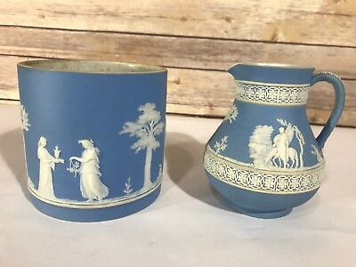 Antique Wedgwood England 1893 Pitcher Holder Pale Blue Jasperware