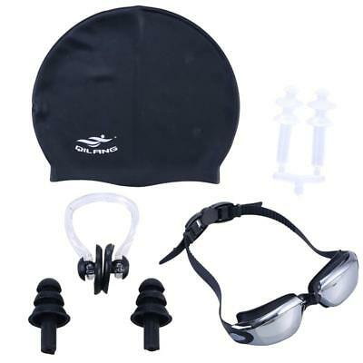 Swimming Set Swimming Goggles Swim Cap Nose Clip Earplugs Set for Men Women Adul