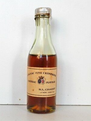 Mini Bottle Cognac Croizet Old Chateau Flaville 3 Cl Miniature