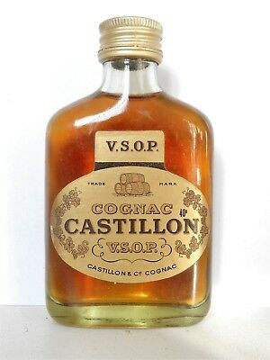 Mini Bottle Cognac Castillon Flask Vsop 10 Cl Miniature