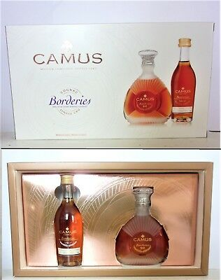 MINI BOTTLE COGNAC CAMUS COFFRET XO BORDERIES + VSOP BORDERIES 2 x 5 CL MINIATUR