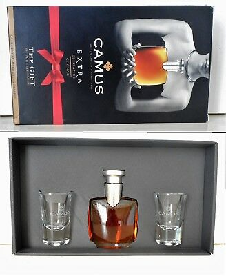 Mini Bottle Cognac Camus Coffret Extra + 2 Glasses 5 Cl Miniature