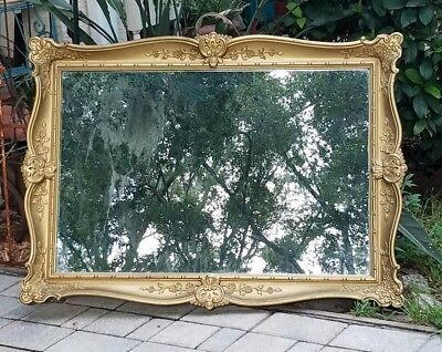 Vintage gold Baroque mantle wall mirror Victorian Hollywood Regency 42 1/2""