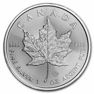 2020 Maple Leaf $5 Canada Once Argent Pur Ounce Oz Silver 5 Dollars