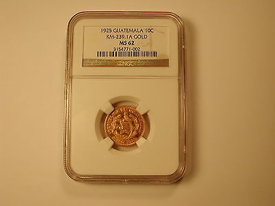 1925 NGC MS62 Guatemala Gold 10 Centavos KM-239.1A . EXTREMELY RARE only 2 known