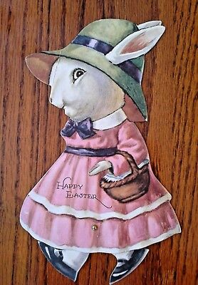 vintage Cardboard DIE CUT MECHANICAL EASTER CARD, Girl Bunny With Moving Feet