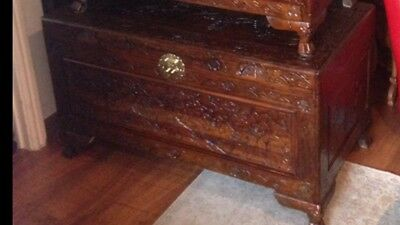 Chinese,LRG(1of3)Chests/blanket/toy Box(camphor?)wood.oriental,asian,Thai,carved