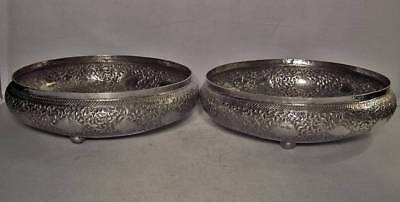 2 Antique Islamic Malaysian MALAY Solid Silver Bowls with Kris Dagger Keris