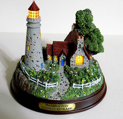 "Thomas Kinkade Lighted Lighthouse And Cottage ""the Light Of Peace""  Figurine"