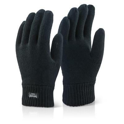 Mens 3M THINSULATE THERMAL FULL FINGER GLOVES Knitted Wooly Black UK NEW