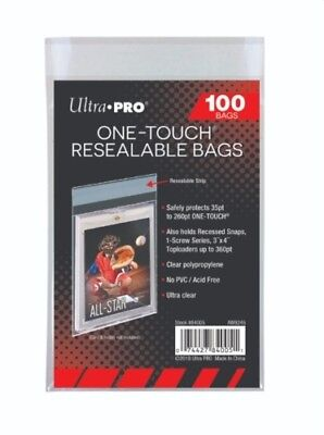 (1000 / 10 Packs) Ultra Pro One-Touch Resealable Bags Sleeves For Card Holders