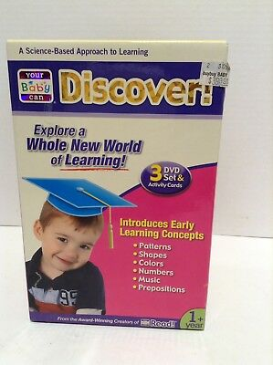 Your Baby Can Discover 3 DVD Set & Activity Cards Early Learning Concepts new