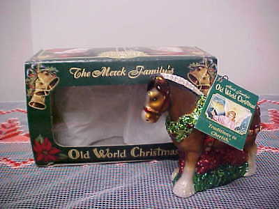 Old World Christmas Brown Clydesdale Horse Ornament - NWT & Orig. Box