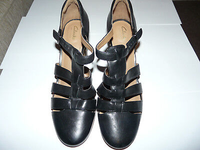 a67fad2d387 LADIES SIZE 7 D Clarks Artisan Ciera Gull Black Leather shoes T bar ...