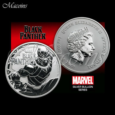 Black Panther Marvel Series 2018 Tuvalu 1 Oz 9999 Silver Bu Coin