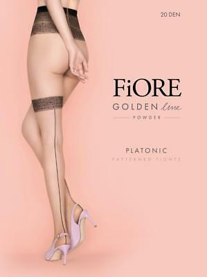 Fiore Platonic Patterned Backseam Tights Pantyhose Black On Black 3 Sizes