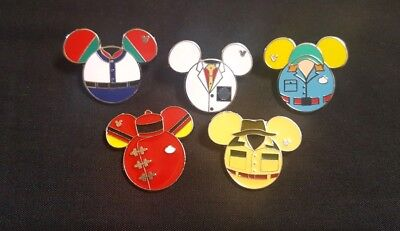 f865732198f WDW Cast Member Costume Uniform Suit Disney Pins Hidden Mickey Set of 5 Lot