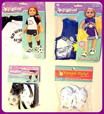 LOT of 4 DOLL CLOTHES 18 Inch SOCCER & CHEERLEADER Outfit SHOES American Girl