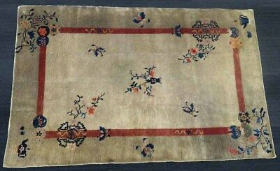 Late 19th.c Chinese Carpet Hand Woven 5 foot by 8 foot  Flowers, Teapots Birds