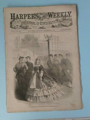 Harper's Weekly 9/7/1861   recruiting in New York    Map of the War in the West