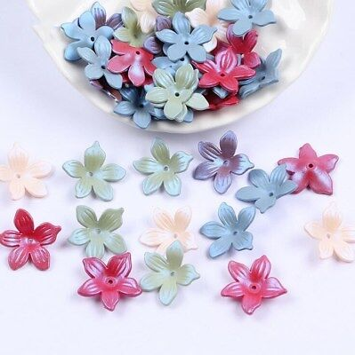 100pcs Mixed Acrylic Frosted flowers Beads Headdress flower accessories 19mm