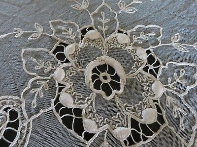 Ornate Antique TAMBOUR Lace Bedspread Large Size and Perfect Condition