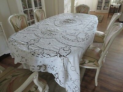 Antique ITALIAN FILET Cut Work & Lace Large Tablecloth or Coverlet Snow White #2