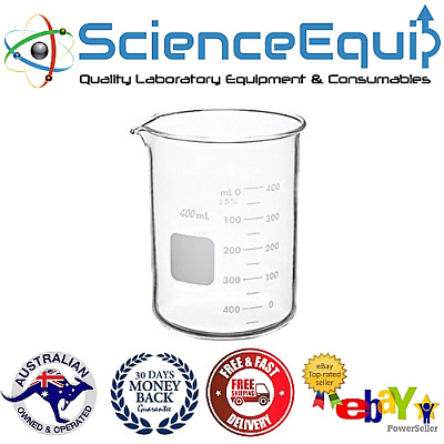 Quartz Beakers, Low Form with Spout, 400ml Size, High Temperature up to 1000°C