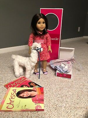 "American Girl 18"" Doll Chrissa EUC with dress and llama MINT"