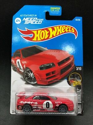 Hot Wheels 2016 Nissan Skyline GT-R R34 Need For Speed Red Rare HTF New JDM