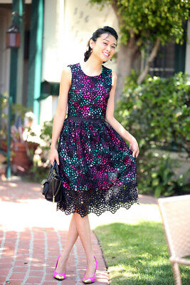Anthropologie Wolven Terrace Dress Black Lace Overlay Floral Garden Party Sz 4