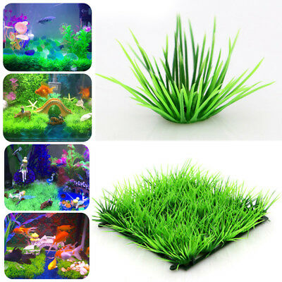 Green Plastic Water Grass Plant Lawn Fish Tank Landscape Aquarium HomeDecor 12cm