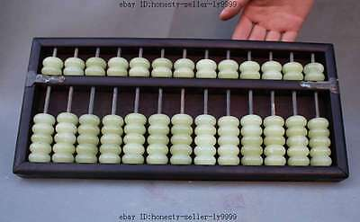 """15"""" old chinese palace Rosewood wood jade statue abacus Calculator Calculations"""