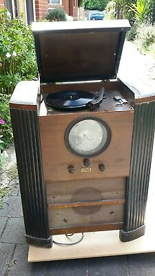 Vintage 1930,s Prima Donna Valve Gramaphone Working But Needs Attention With...