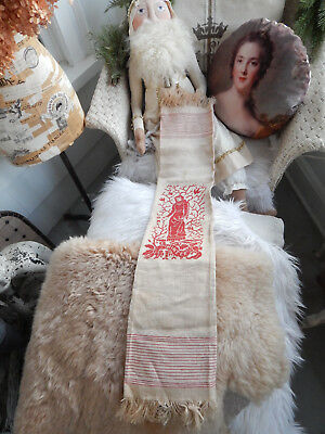 Antique Victorian Red Winter Damask Towel Cloth Red Embrodiery Birds Woman Holly