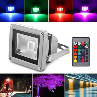 RGB Colour Changing LED Floodlight Outdoor Garden Spotlight Waterproof  ON