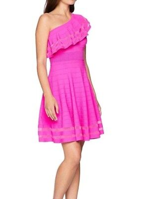 443771e33a NWT Ted Baker London Streena Neon Pink One Shoulder Knitted Dress UK 4 US 10