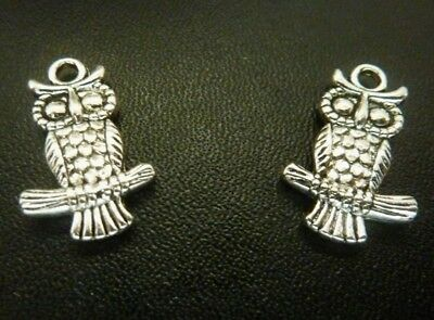 16 pce Metal Antique Silver Owl Charms 19mm x 12mm Jewellery Making Craft
