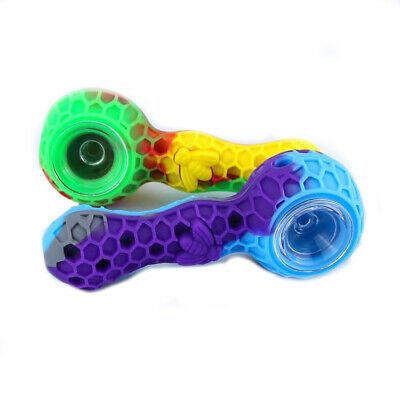 "4"" Collectible Silicone Tobacco Pipe with Glass Slide Bowl (assorted colors)"