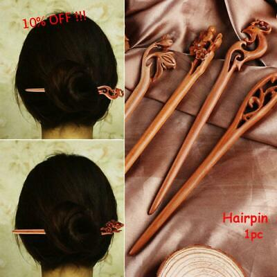 Women's Retro Ethnic Wooden Handmade Carved Hair Stick Pin Hair Styling Tools