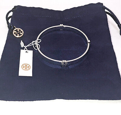 TORY BURCH Logo T Bangle Bracelet Silver Tone #11145909 with TB Dust Bag NWT