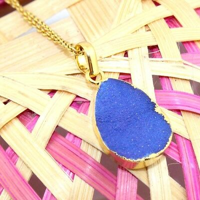 H5565 Sale Blue Natural Agate Druzy Gold Plated Pendant Chain Necklace Jewelry