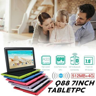 "7"" Tablet PC Android 4.4 Camera Quad-core 4GB WiFi Google Dual Card Kids Child"