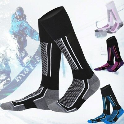 Mens Sports Winter Long Socks Thermal Ski Snowboard Stretch Sleeve Skiing Hiking