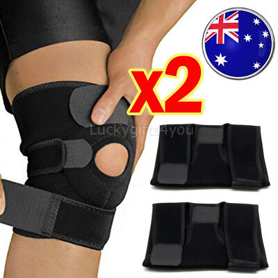 Elastic Adjustable Knee Brace Fastener Patella Support Gym Black Relief Strap OZ