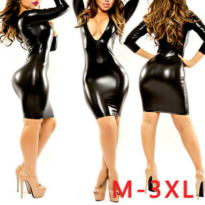 Sexy Damen V-Ausschnitt Wetlook Lederlook Bodycon Minikleid Glanz Party Kleid Gr