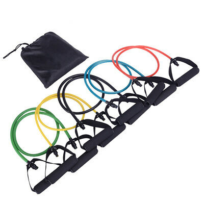 5 in1 Latex Elastic Resistance Bands Pilates Tube Pull Rope Gym Yoga Fitness Set