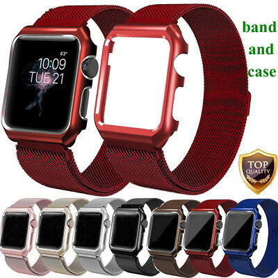 Magnetic Milanese Stainless Band Strap+Case Frame For Apple Watch Series 4 3 2 1