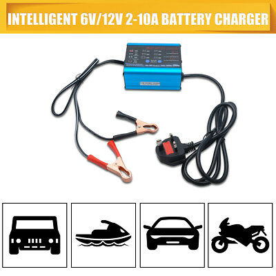6v 12v 10A Car Van Bike 4Ah to 200Ah Fully Automatic Battery Charger 2A 6A 10A